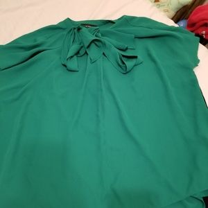 Emerald green blouse with tie